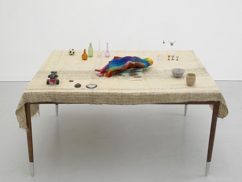 Weeks Table, 2011 Table, Blanket, Modelling Material, Wool, Wire, Paint,  Glass, Found Plastic And Football And Purse 82 X 110 X 160 Cm